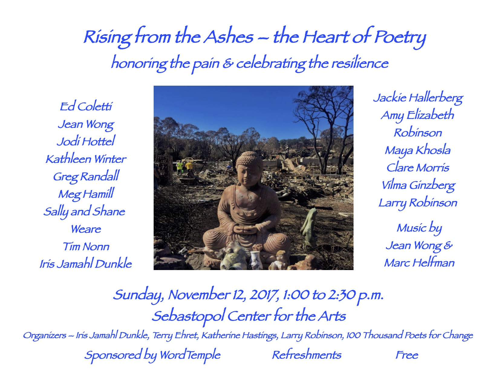 Rising from the Ashes Poetry - the Heart of Poetry, Sebastoipol Center for the Arts Event