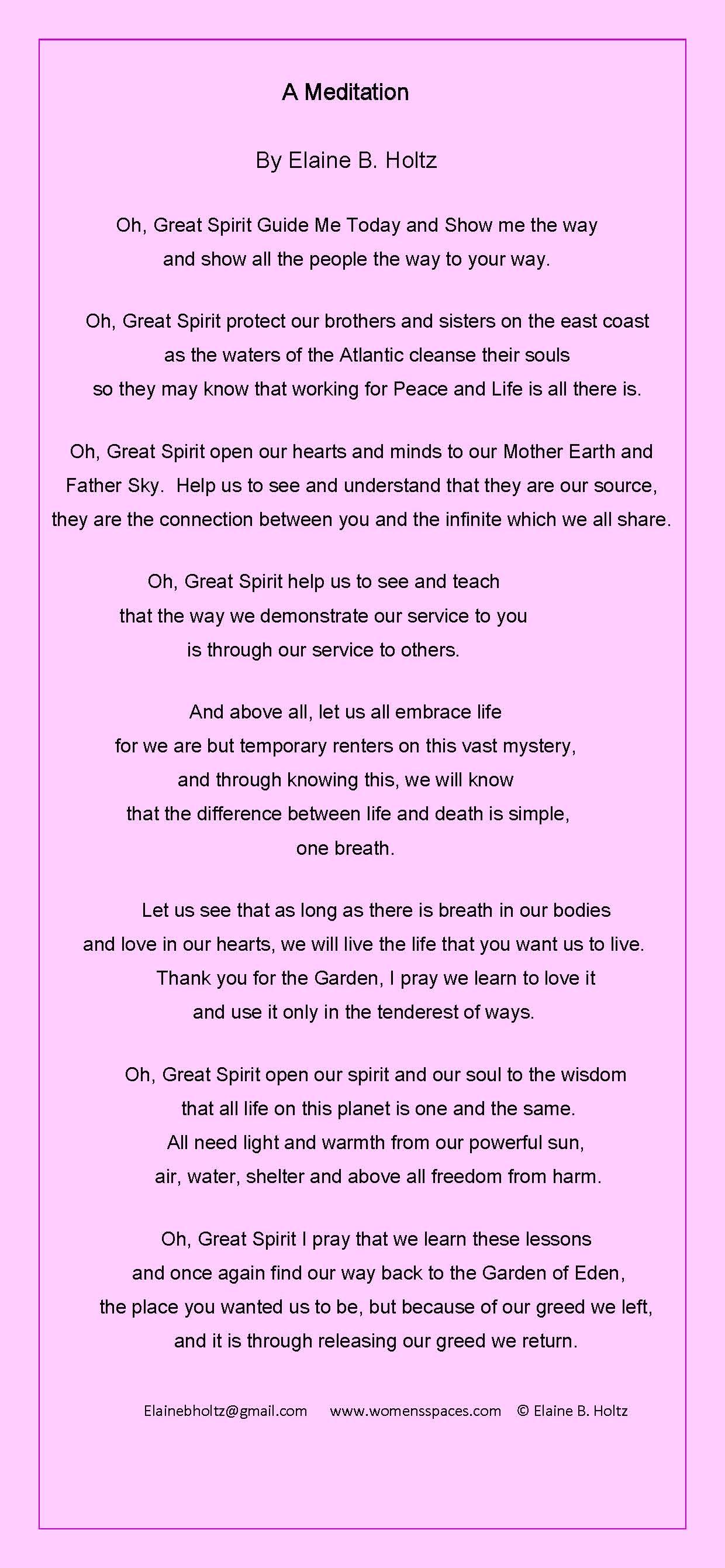 A Meditation by Elaine B. Holtz