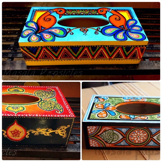 Hand painted tissue box covers