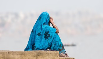 lone woman in a saree
