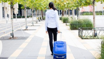 woman with a suitcase