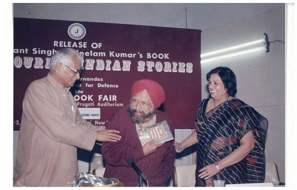 Launch of my book at the World Book Fair with Khushwant Singh and George Fernand, then Defence Minister