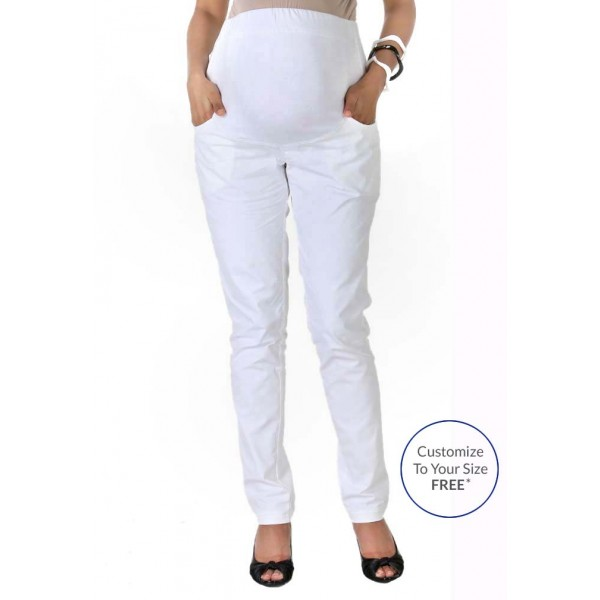 White pencil pregnancy pants