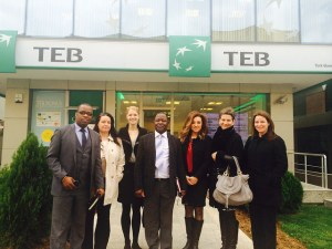 Women's World Banking and senior leaders from NBS Malawi outside TEB offices