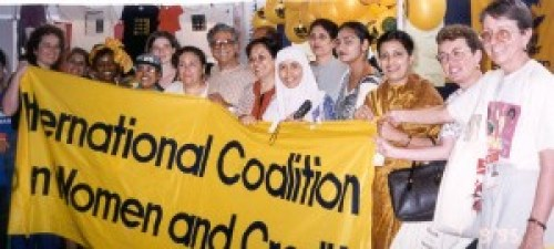 A group photo of the International Coalition for Women and Credit at the Fourth World Conference on Women (Beijing, 1995)