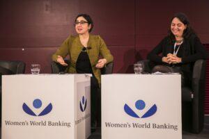 Neli Esipova and Leora Klapper (Making Finance Work for Women Summit, Germany, 11-12 November 2015)