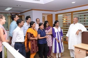Staff with Ujjivan CEO Samit Ghosh at their headquarters in Bangalore, India