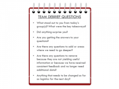 An example of debrief questions after a day of doing research