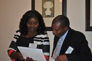 Participants share values with one other (NBS Bank, Malawi, Women's World Banking Management Training Program)