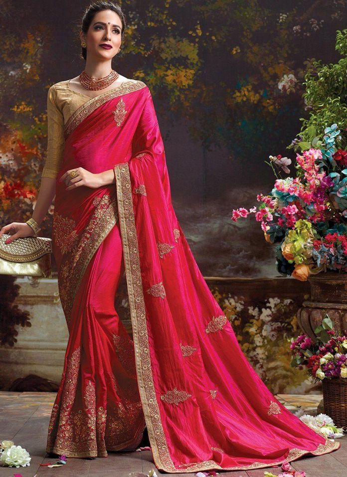 Woman in Fancy stone Saree