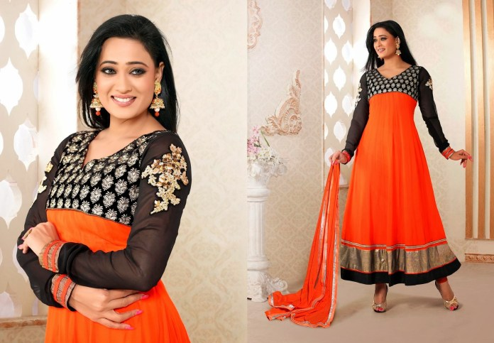 Orange and black colored Churidar
