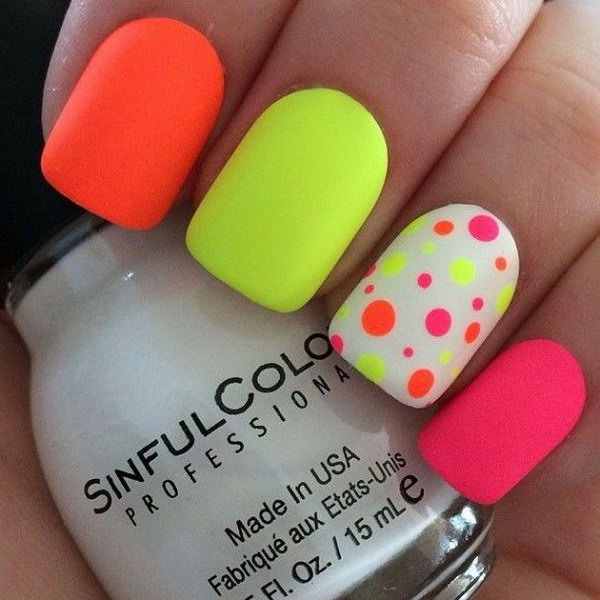 Perfect Summer Nail Art Neon Polka Dots On A White
