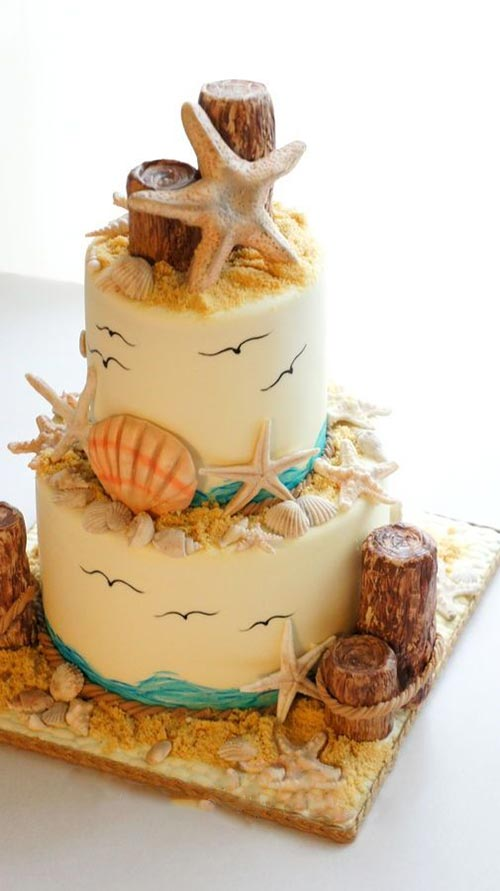 11 Spectacular Designs Of Beach Wedding Cake For Your Vows