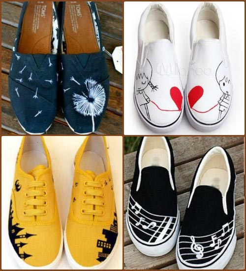 10+ Easy Designs To Make Funky Hand Painted Sneakers