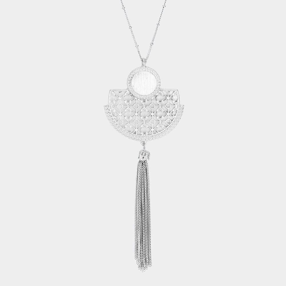 Metal Filigree Tassel Pendant Long Necklace