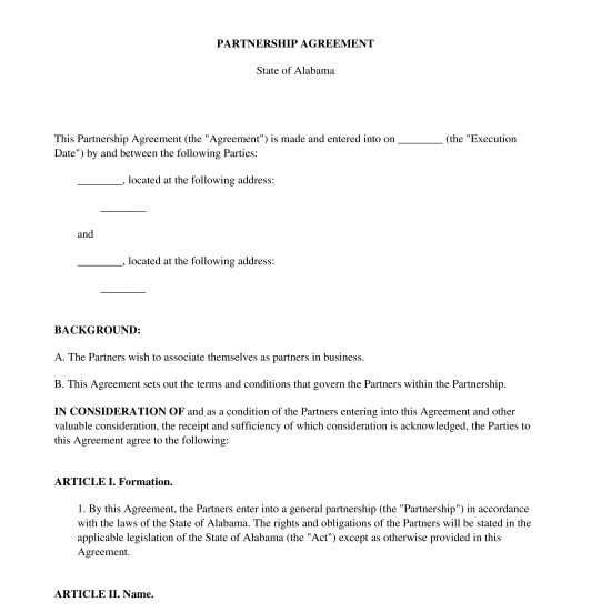 free business partner contract template