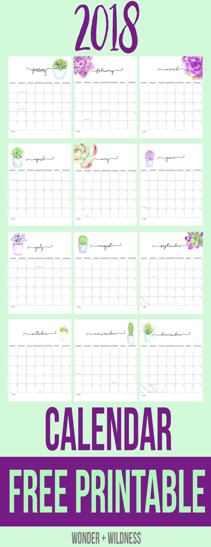 2018 printable calendar free