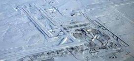 Denver International Airport before & after snowstorm