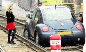 Car on railway track