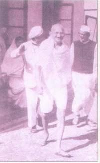Raman with Mahatma Gandhi and Mahadeo Desai