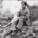 Indian maharajah daughter seated on panther