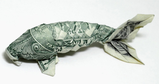 Money Origami - One Dollar Fish