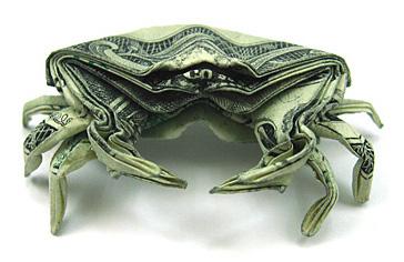 Money Origami - One Dollar Crab