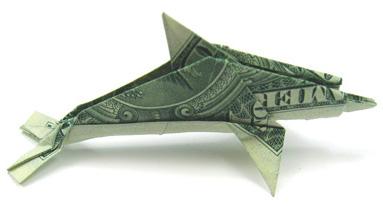 Money Origami - One Dollar Dolphin