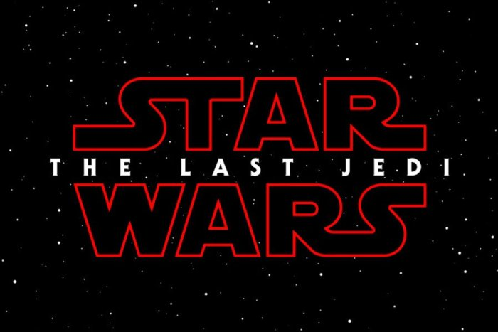 Star wars the last jedi text in red on black background