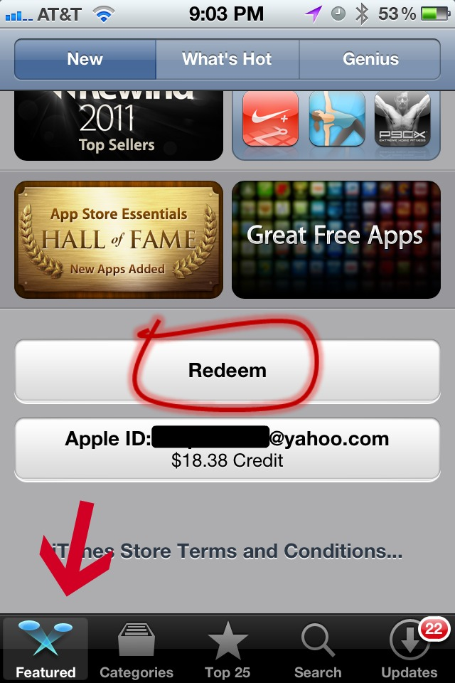 redeem app store gift card on iphone