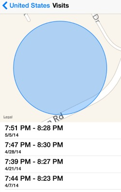 iPhone Time Frequent Locations