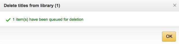 Delete confirmation Kindle book