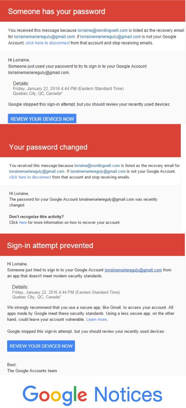 Google Warnings