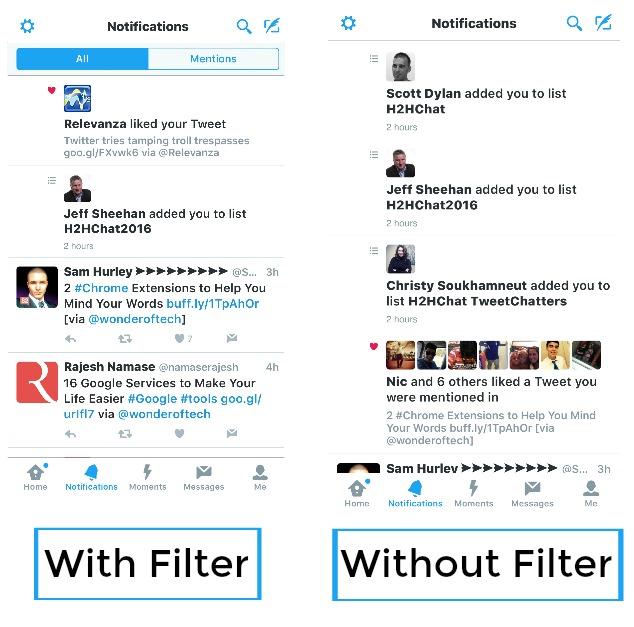 Twitter Filter comparison