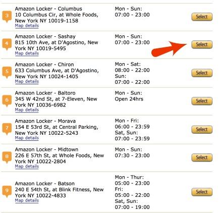 Locations of Amazon Lockers