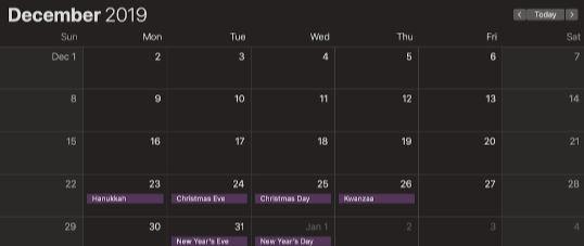 Calendar Dark Mode Mojave
