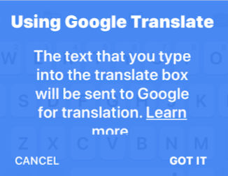 Privacy Google Translate Gboard