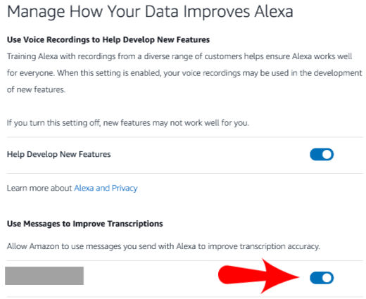Opt Out of Alexa using data