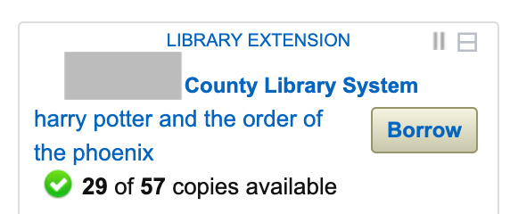 Library Extension Book Availability