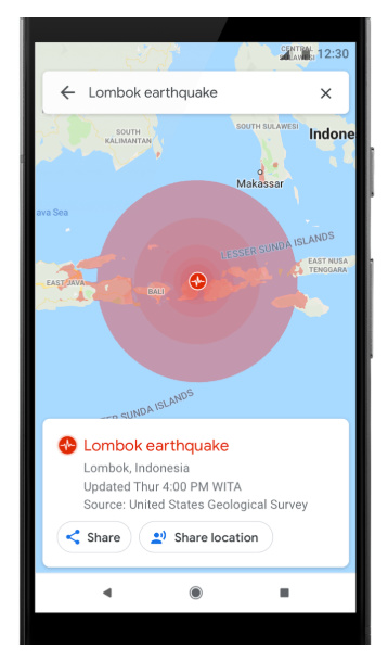 Google Maps Earthquake Alerts