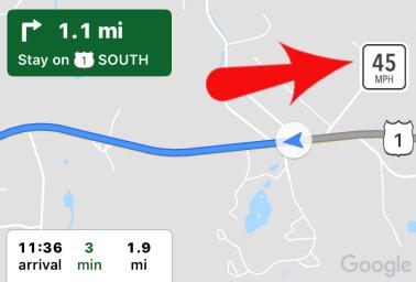 Google Maps Speed Limit Sign