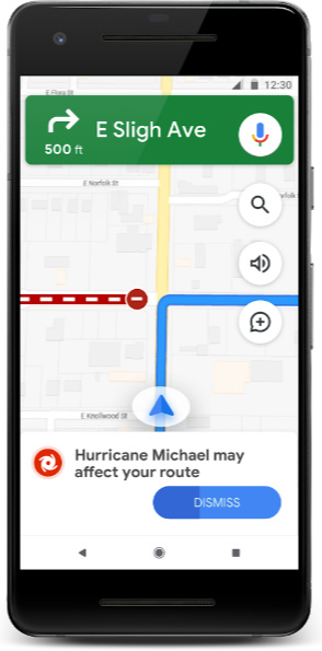 Google Maps Natural Disaster Navigation