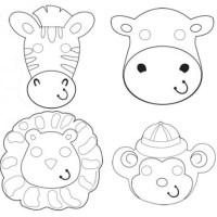 Maschere da colorare animali Safari