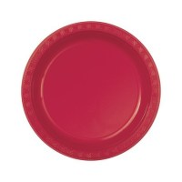 Party Supplies - Red Plastic Dessert Plates