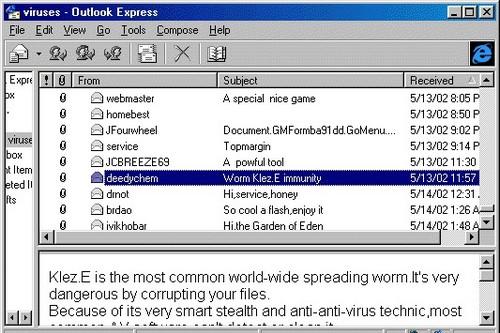 Damaging Computer Virus Klez