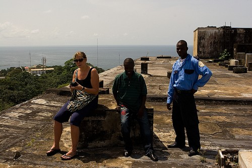 Josie, Josiah & Security Guard, Ducor Hotel, Monrovia, Liberia
