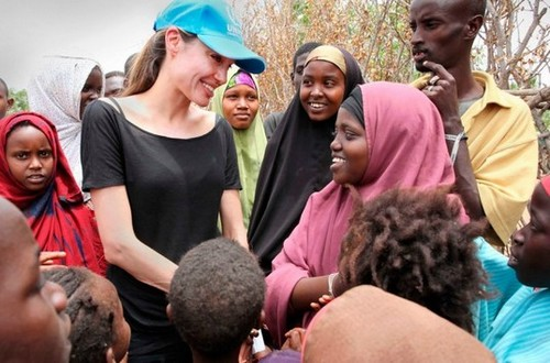 Angelina Jolie during a relief mission in Africa