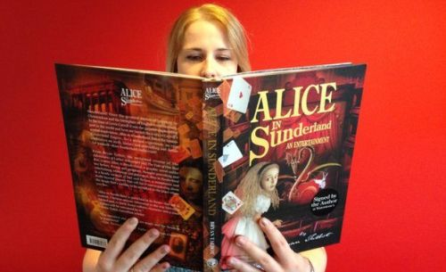 A lady reads Alice in Sunderland