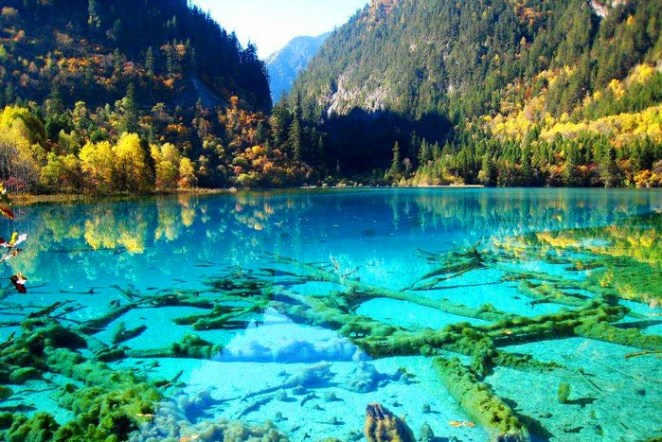 Crystalline Turquoise Lake, Jiuzhaigou National Park, China.