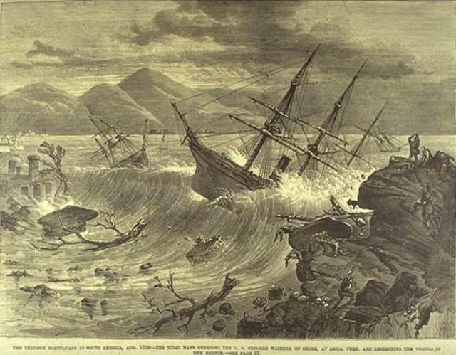 Artistic Rendering of the 1868 Tsunami in Arica (then city of Peru)